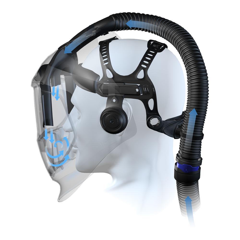 Принцип работы сварочной маски с подачей воздуха