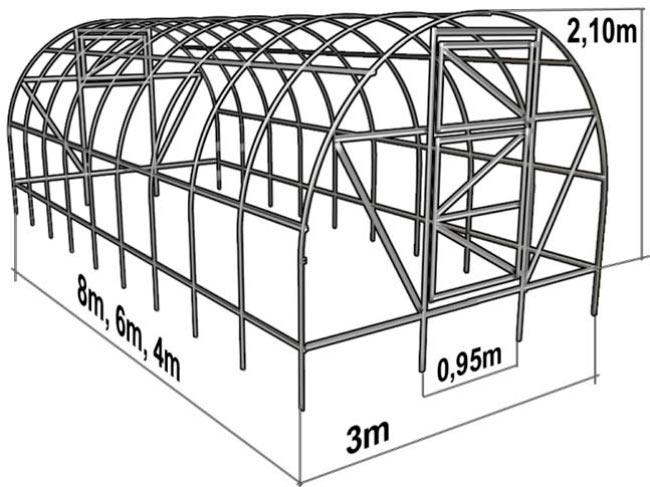Чертеж теплицы арочной конструкции