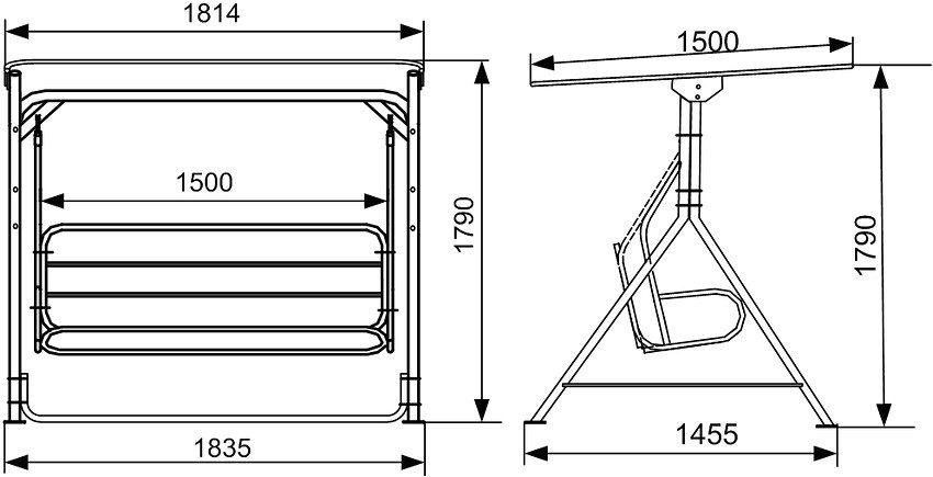 Чтобы избежать столкновения скамейки с опорами расстояние между ними для веревки выбирается не менее 0,35 м, для цепей — 0,25 м