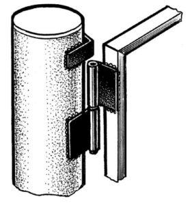Место установки навесов на круглом столбе нужно сдвинуть на 5 — 6 мм наружу