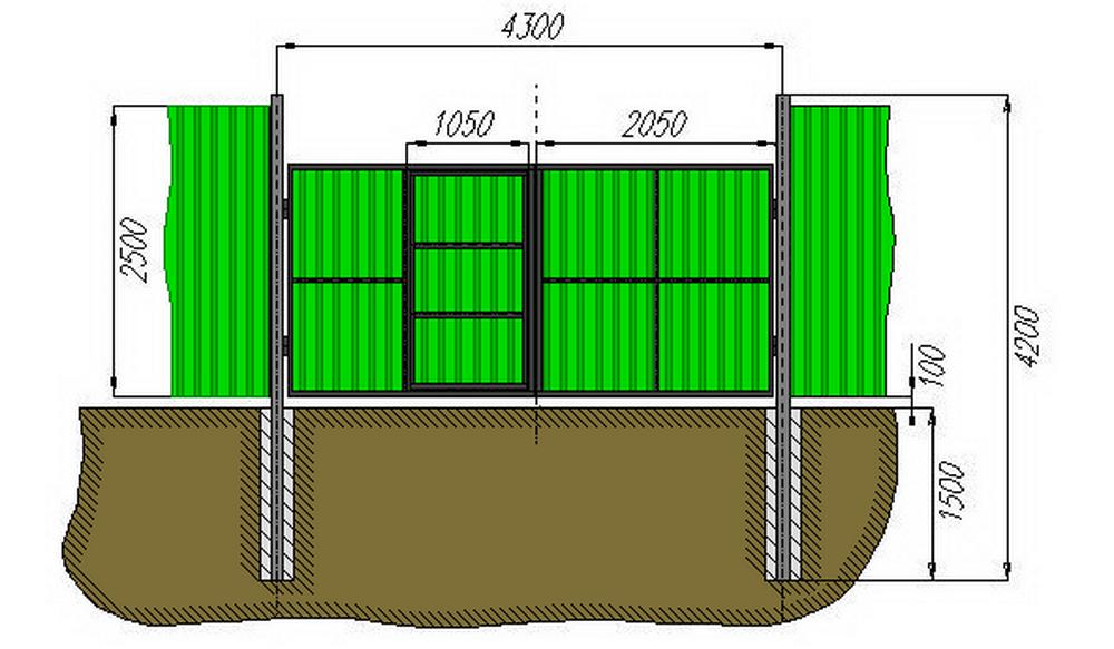 Столбы вкапываются га глубину не менее 1 метра