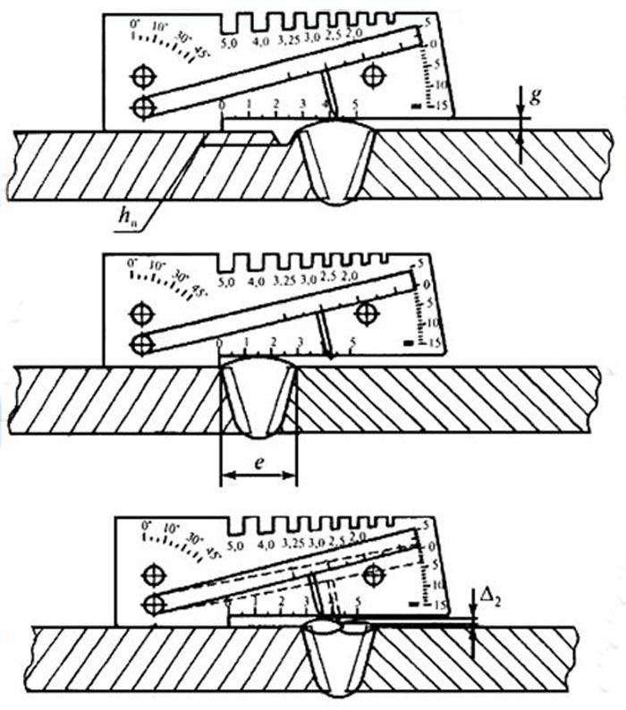 Измерение высоты и глубины швов и дефектов
