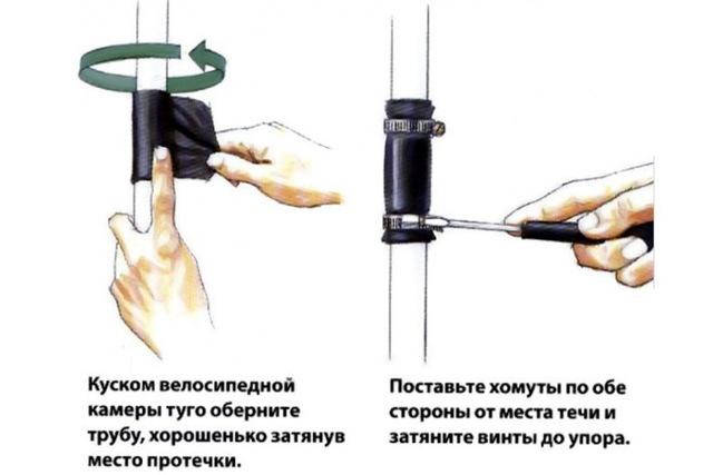 Ремонт утечки при помощи куска резины и хомута