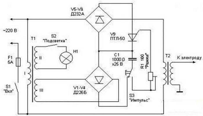 Схема конденсаторной сварки трансформаторного типа
