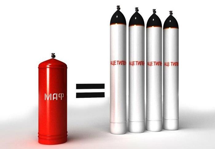 Главным преимуществом МАФ газа является его меньший вес при одинаковом объеме в сравнении с ацетиленом